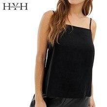 HYH Haoyihui Femme Simple Pure Color Black Casual Tank Tops Neck Adjustable Solid Shoulder Strap New Hot Summer Women Vest