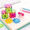 Волшебный кубический, для карандашей точилка милые красочные Пластик точилка для карандашей для детей Подарки корейские канцелярские офисные школьные принадлежности, блокноты - фото