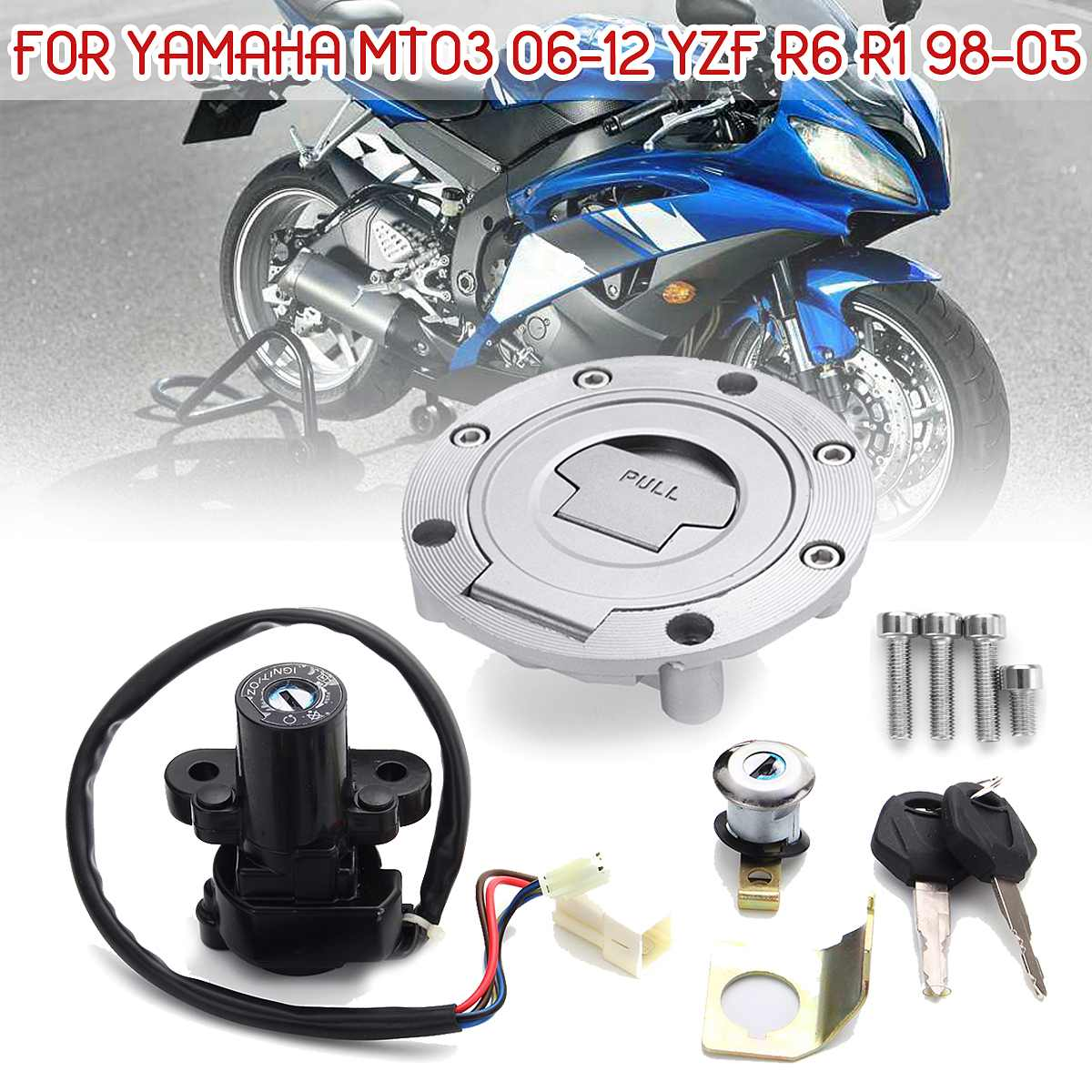Zündschloss Sperren Fuel Gas Cap Key Set Für Yamaha MT03 06-12 YZF R6 R1 XJ6 FJ09 FZ09 FZ07 FJ13 FZ1 FZ6 FZ8