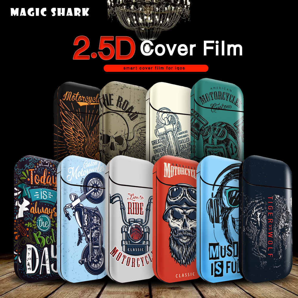 Magic Shark Tiger Skull Punk Sticker Stereo Film For IQOS 2.4p 2.4 Plus Printing Cover PVC Skin Case Protective Sticker