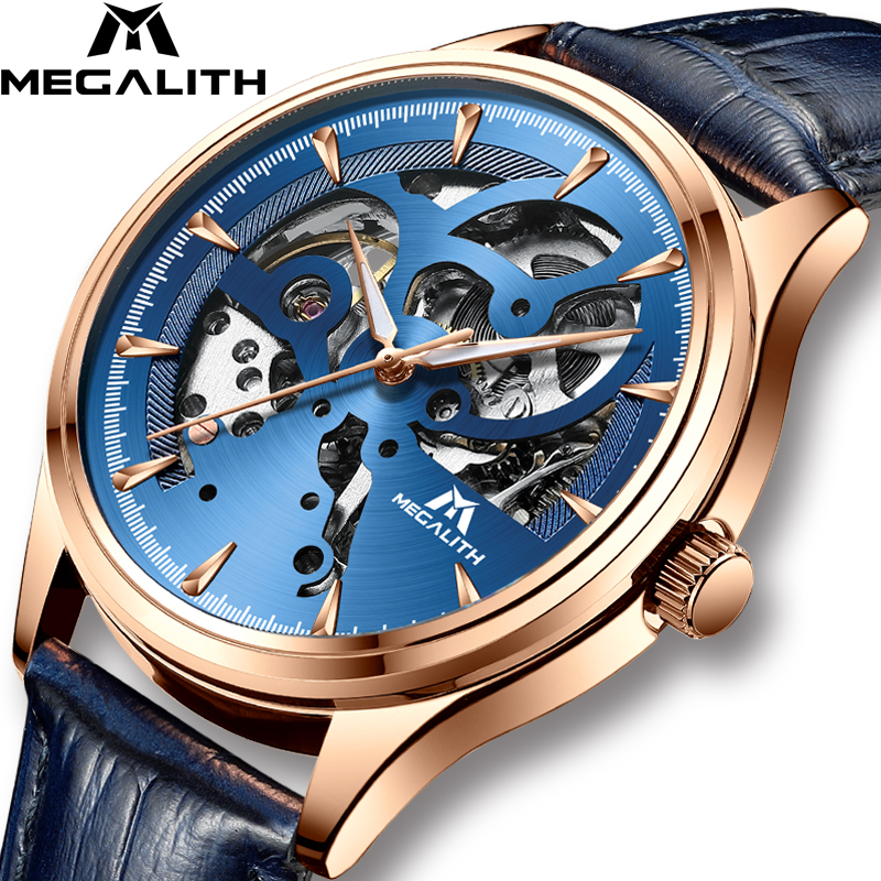MEGALITH Fashion Luxury Watch Automatic Mechanical Watch Waterproof Black Leather Sport Business Watch For Mens Relojes HombreMEGALITH Fashion Luxury Watch Automatic Mechanical Watch Waterproof Black Leather Sport Business Watch For Mens Relojes Hombre