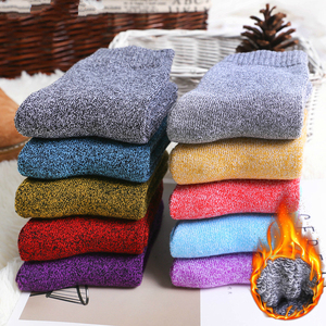 Image 1 - Winter Women Thick Warm Terry Cotton Fashion  Solid Harajuku Retro Solid Color Wool Socks 5 Pair