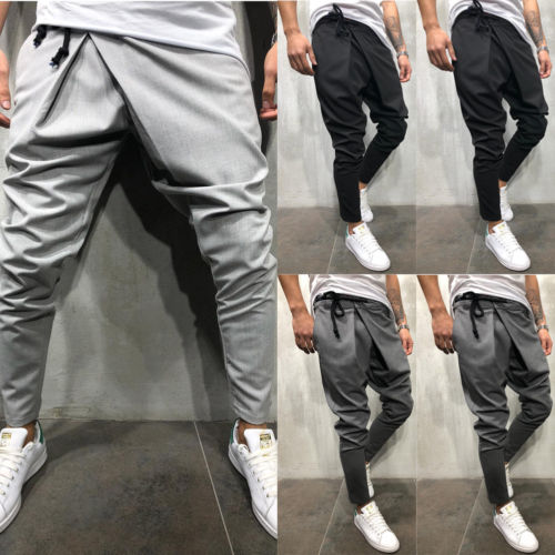 Thefound Brand Men Casual Skinny Pants Bandage Waistband Harem Baggy