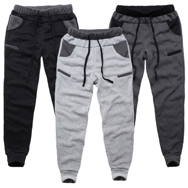 INCERUN Winter Warm Thick Sweatpants Track Pants Elastic Casual Baggy Lined Tracksuit