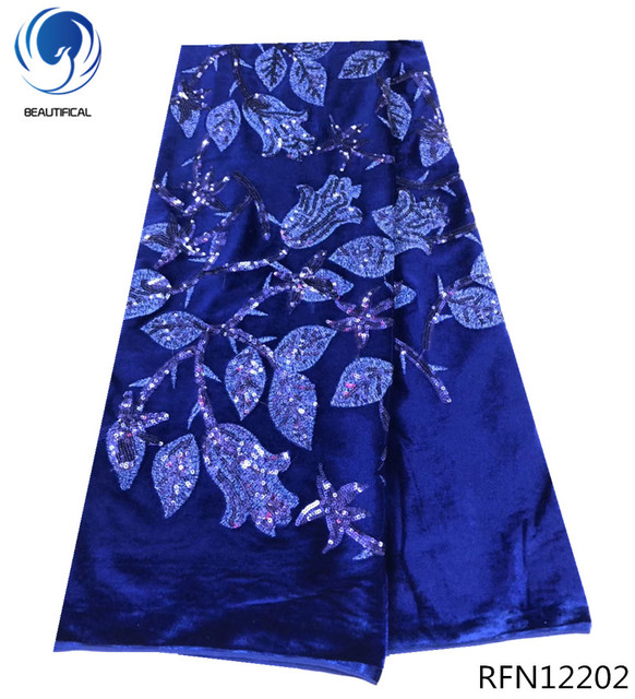 BEAUTIFICAL nigeria velvet lace blue sequin lace fabric sequins french tulle lace fabric 5yards fashion pattern for party RFN122