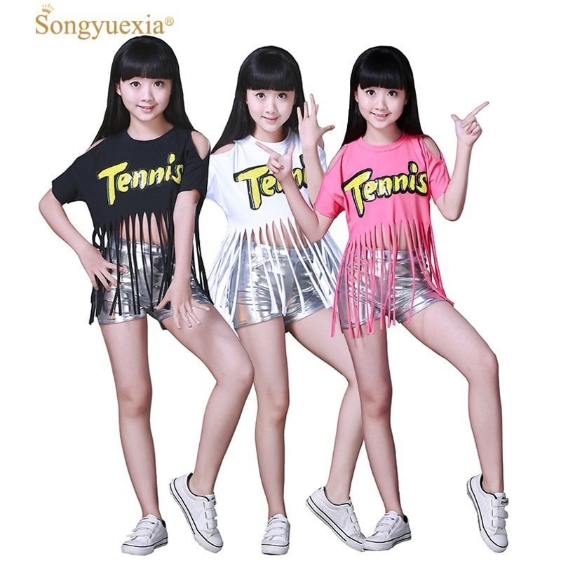 Songyuexia New DS Children Jazz Dance Performance Dress Tassel Girls Modern Dance Cheerleading Uniforms Street Dance Wear