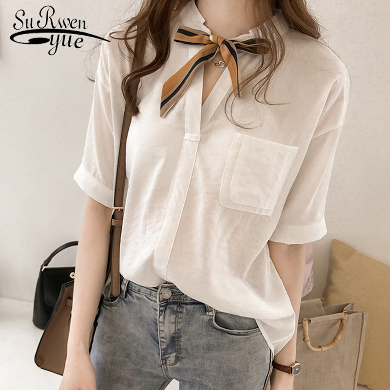 New 2018 Summer Fashion OL Women   Blouses     Shirt   Solid Bow   Blouse   Short Sleeve Women Tops   Shirts   Blusas Feminine   Blouses   0626 40
