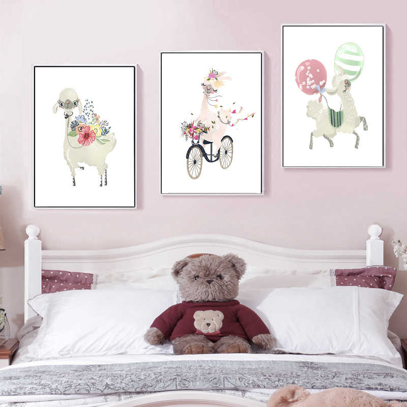 Alpaca Llama Nursery Wall Art Canvas Painting Nordic Posters and Prints Wall Pictures for Kids Bedroom Baby Girl Room Home Decor