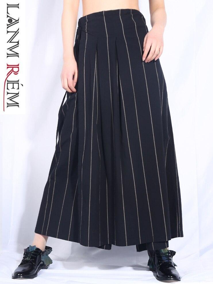 Printemps Jo580 Lâche Lanmrem Nouveau Féminine D'été Haute Pantalon Femmes 2019 En Bas Large De Mode La Taille Black Rayé Impression Bandage mN80nw
