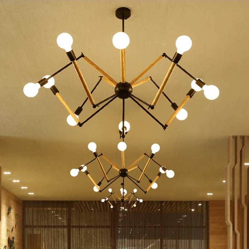 Подвесной светильник LukLoy Spider s, современный промышленный подвесной светильник, регулируемый светильник в скандинавском стиле, ретро, для гостиной, лофт, кухни, деревянная лампа