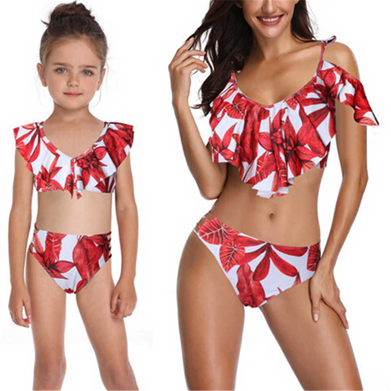 7c17492e14ff5 ... Mommy And Me Swimsuit Floral Mother Daughter Bikini Set Ladies Women  Swimwear Kids Swimsuit Children Bathing ...