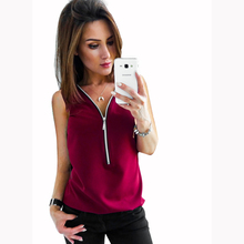 2018 summer new pure color sleeveless V style zipper Chiffon sweater