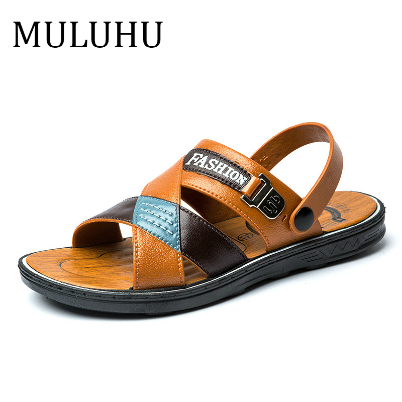MULUHU New Man Shoes 2019 Men Sandals Beach Slippers Comfortable Summer Shoes Men Classics Flip Flops Casual High Quality
