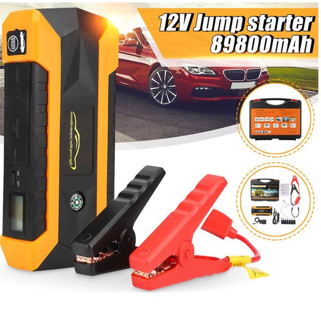 Prático 89800 mAh 12 V 4USB Carregador de Bateria de Carro de Partida Banco de Potência Carro Saltar de Arranque Impulsionador Kit de Ferramentas Para Auto a partir do Dispositivo