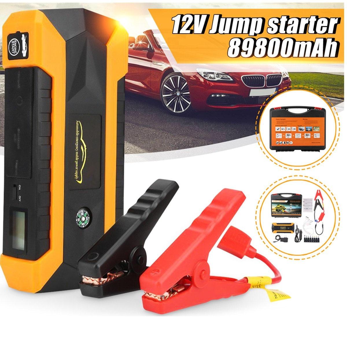 Pratique 89800 mAh 12 V 4USB voiture chargeur de batterie démarrage voiture saut démarreur Booster batterie externe Kit d'outils pour démarrage automatique dispositif