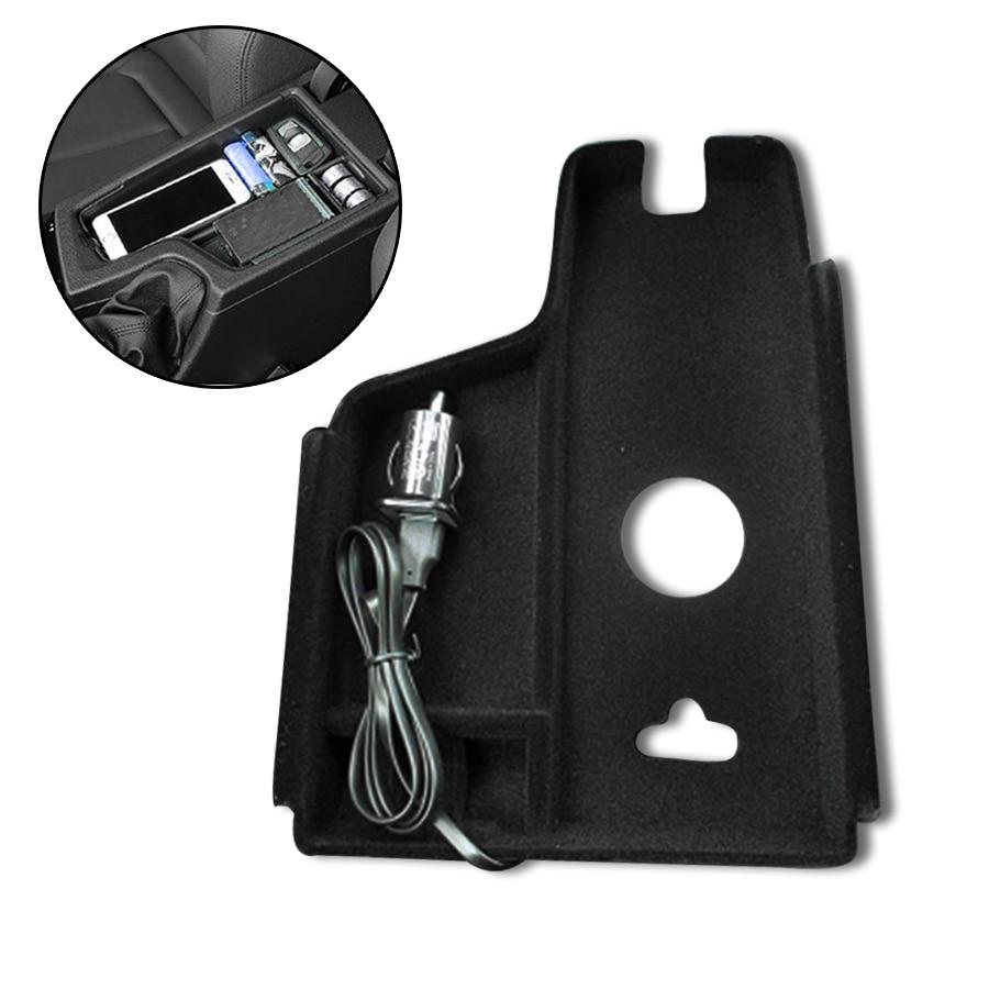 phone car charger box wireless central armrest storage box. Black Bedroom Furniture Sets. Home Design Ideas
