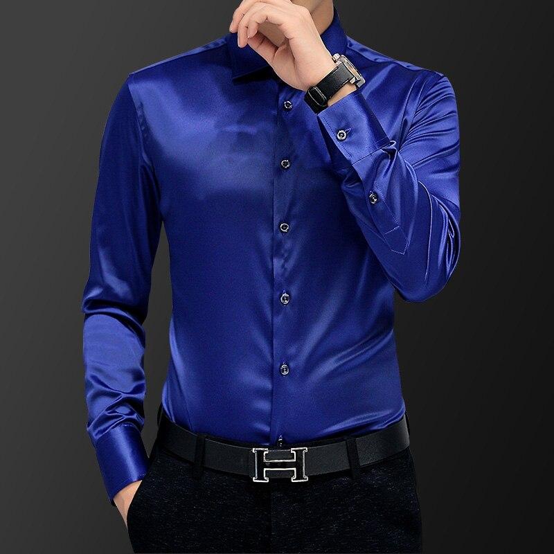 Image 5 - Korean Fashion Style Mens Shirt Wedding Dress Long Sleeve Vintage Shirt Silk Tuxedo Top Chemise Male Cotton Shirt WhiteTuxedo Shirts   -