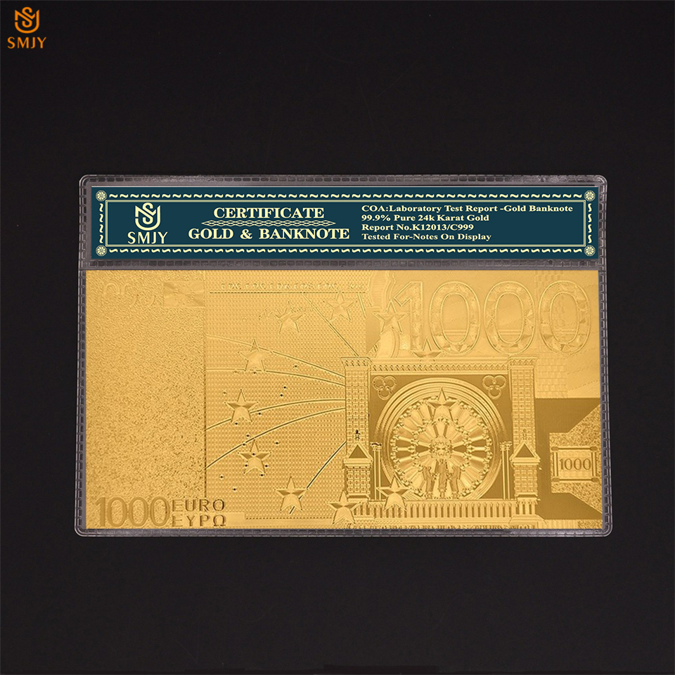 Souvenir Notes <font><b>Euro</b></font> Gold <font><b>Banknotes</b></font> <font><b>1000</b></font> <font><b>Euro</b></font> Currency Paper in 24K Gold Plated Fake Money Collectibles And Business Gifts image