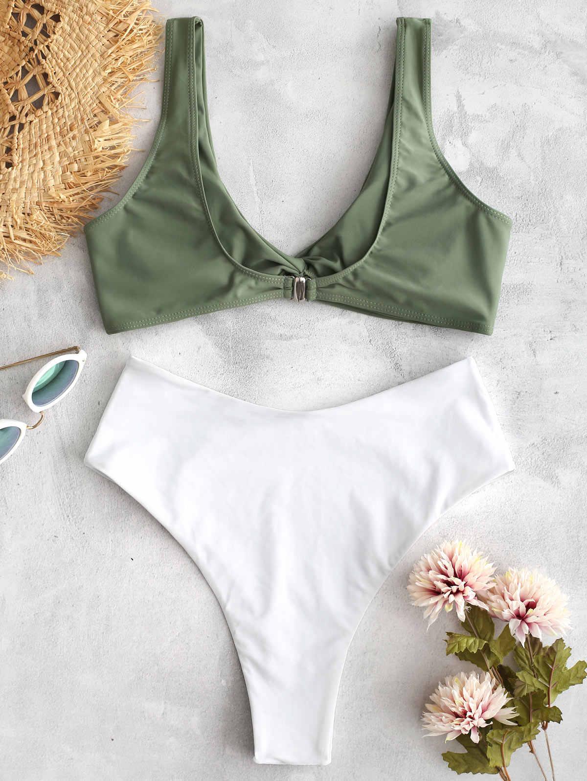 ZAFUL Sport niebieski i biały dwukolorowy Twist top bez ramiączek z falbanką wykończenia Bikini Set Summer Beach Sexy bezprzewodowy strój kąpielowy dla kobiet