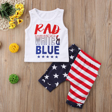 girls summer set 4th of july outfit  baby girl clothes 2019 christmas outfits fashion o-neck pullover sleeveless red