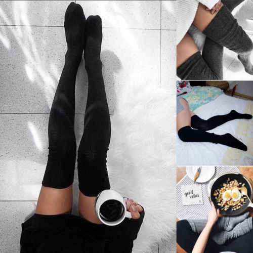 แฟชั่นผู้หญิงสุภาพสตรีถุงน่องสายถักยาวพิเศษ Boot กว่าเข่าต้นขาสูงอบอุ่นสีเทาสีดำ