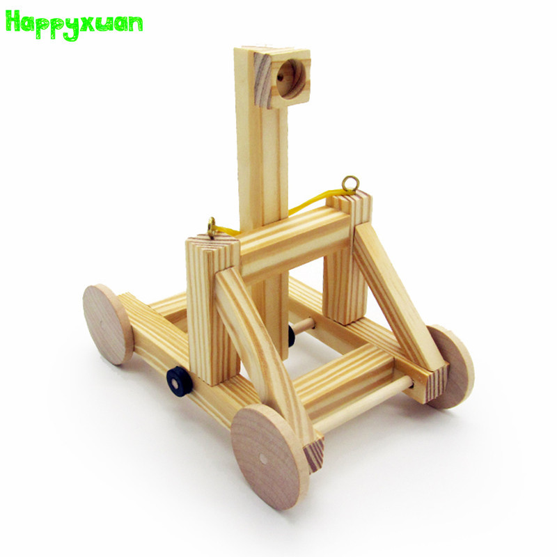 Happyxuan DIY Stone Thrower Chariot Model Wooden Assembled Creative Educational Kits Kids Physical Science Experiment Toy Boys diy wireless remote control racing model kit wood kids physical science experiments toy set assembled car educational toy