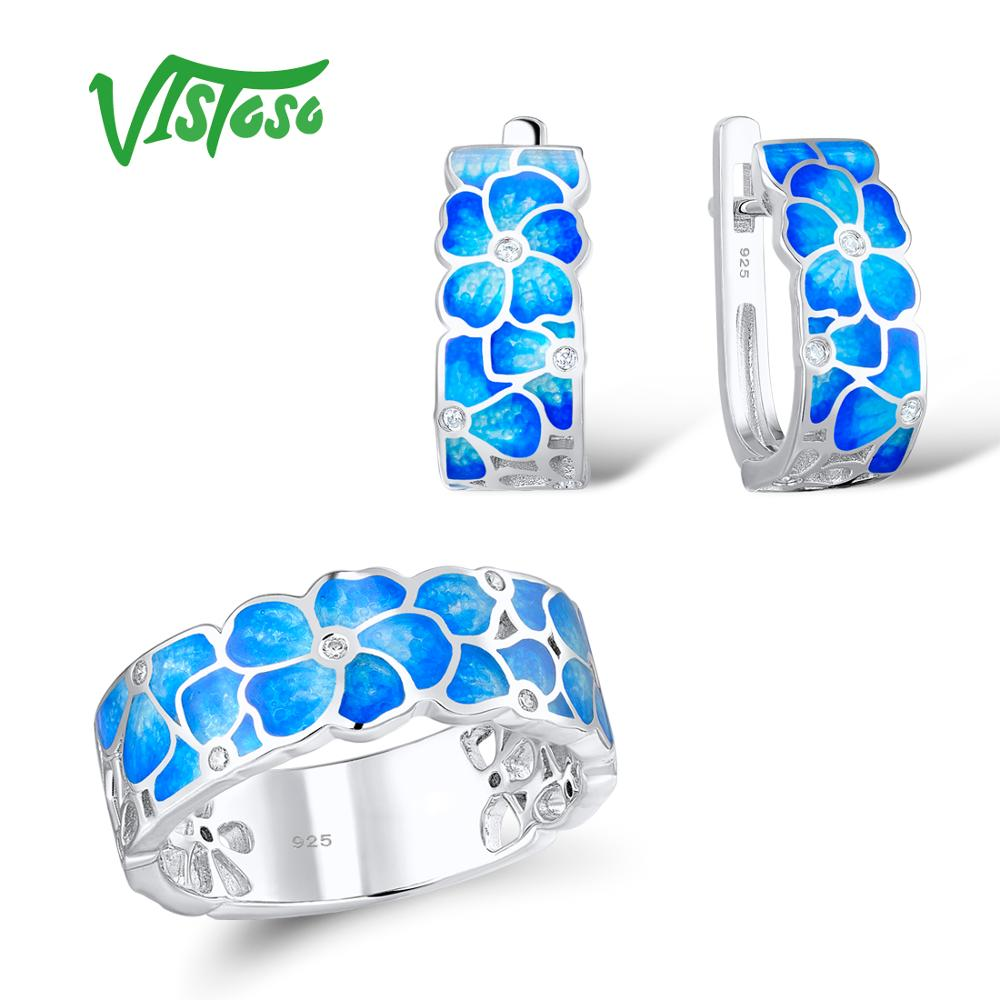 VISTOSO Jewelry Set HANDMADE Colorful Enamel White CZ Stones Flower Ring Earrings 925 Sterling Silver Women