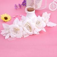 Korean handmade fabric flower head bridal tiara wedding accessories wedding photo styling small pearl hair accessories crown