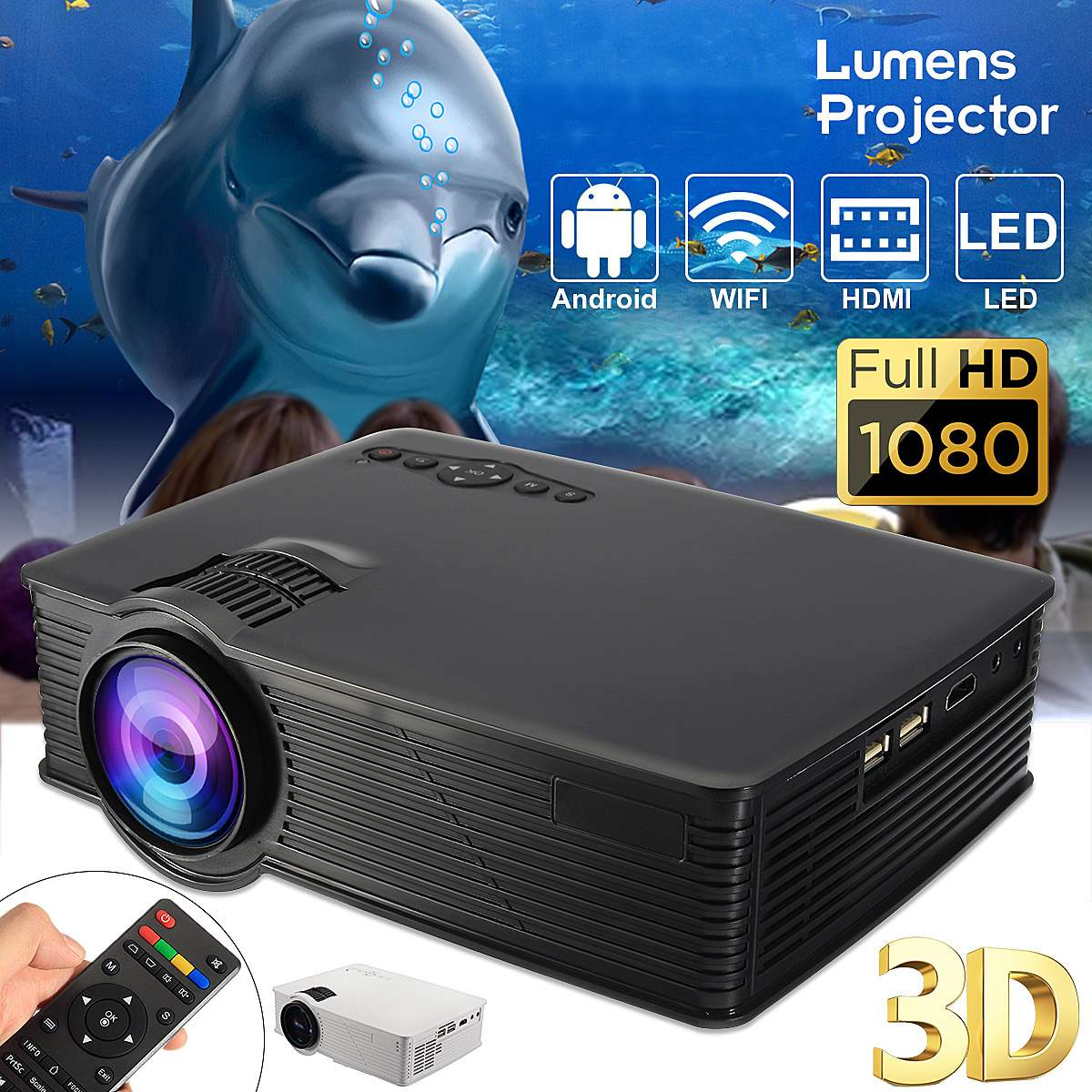 LED WIFI Projector 1080P HD Android4.4 3D Multimedia Beamer for Theater Home Cin