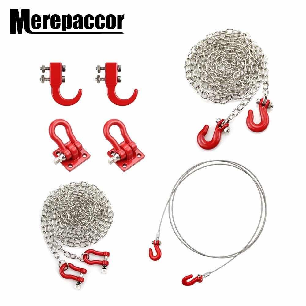 Rc voiture métal crochet de remorquage chaîne décoration pour 1:10 Rc roche chenille Traxxas Trx-4 Axial Scx10 90046 Wraith D90 Tf2 Tamiya Cc01