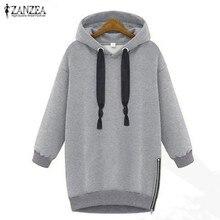 2021 herbst Winter Zanzea Frauen Hoodies Langarm Mit Kapuze Lose Beiläufige Warme Sweatshirt Übergroßen Plus Größe Sweatshirts