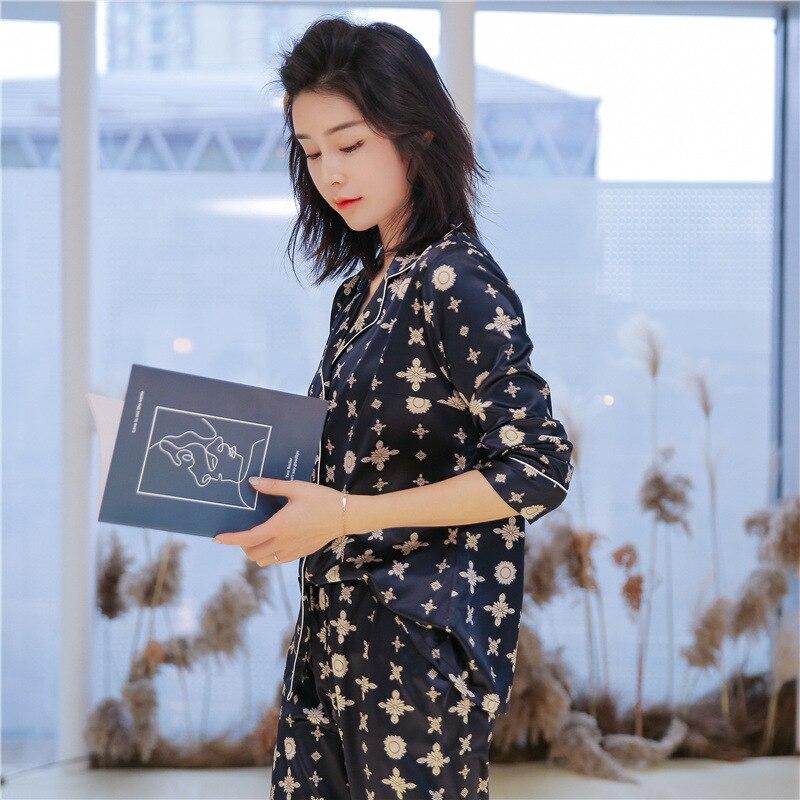 pajamas     set   Lady Silk Satin Women autumn ladies cute sleepwear women's long sleeved 2-piece   set   Pyjamas Homewear Tracksuit