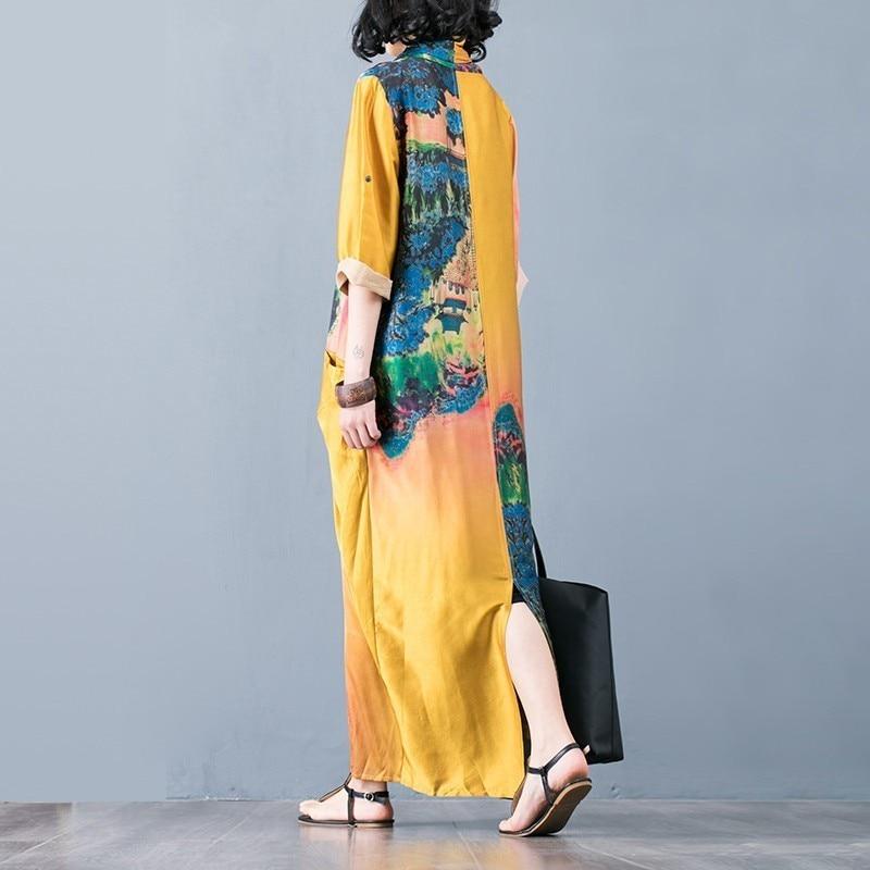 CHICEVER Summer Vintage Print Women Dress Cross V Neck Half Sleeve Patchwork Pockets Split Hem Loose Slim Female Dresses 2020 2