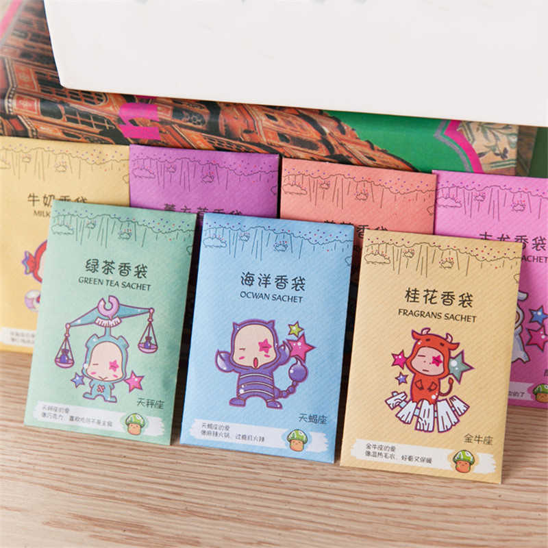 12pcs Aromatherapy Natural Smell Incense Wardrobe Sachet Set Air Fresh Scent Bag Perfume Vanilla Sachets Paper Bag Random Sent