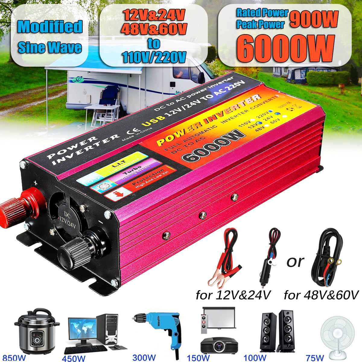 Inversor Solar 12V 220V 1000W 6000W Transformador Conversor de Voltagem DC 12 Pe ak V & 24V 48V & 60V Para AC 110 V/220 V Auto Inversor Adaptar