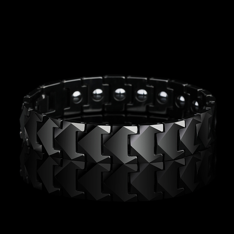 New Stunning 12mm Width Tungsten Links Bracelets for Man High Polished inlay Health Magnetic Stones Three