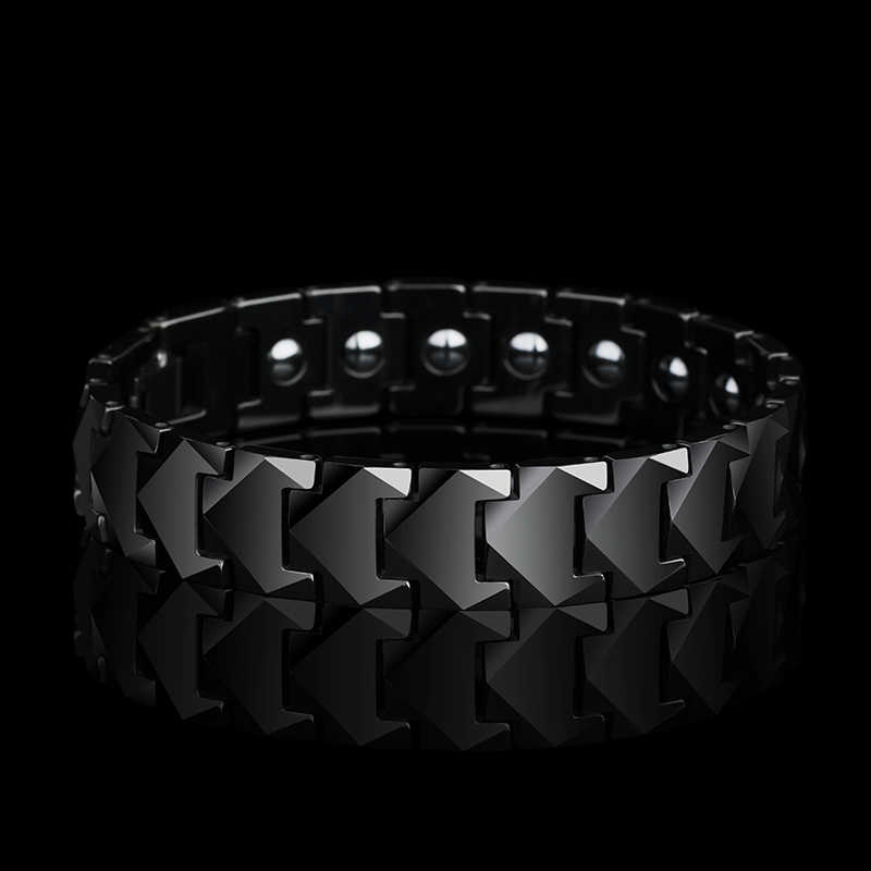 New Stunning 12mm Width Tungsten Links Bracelets for Man High Polished inlay Health Magnetic Stones Three Color 19.5/20.5/21.5CM