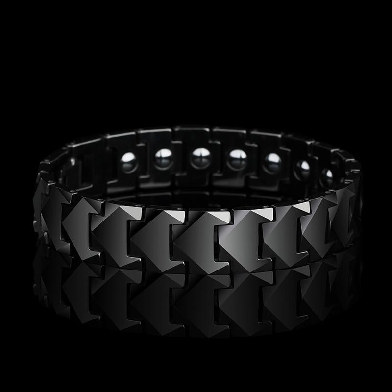 Nouveau superbe 12mm largeur tungstène liens Bracelets pour homme haute poli incrustation santé magnétique pierres trois couleurs 19.5/20.5/21.5 CM