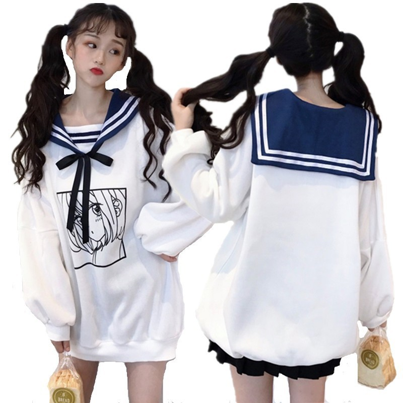 Kawaii Sweet Girls Winter Hoodies Comic Printed Sailor Collar Oversized Sweatshirt Soft Bestie Sisters Cute Maxi Long Loose Tops