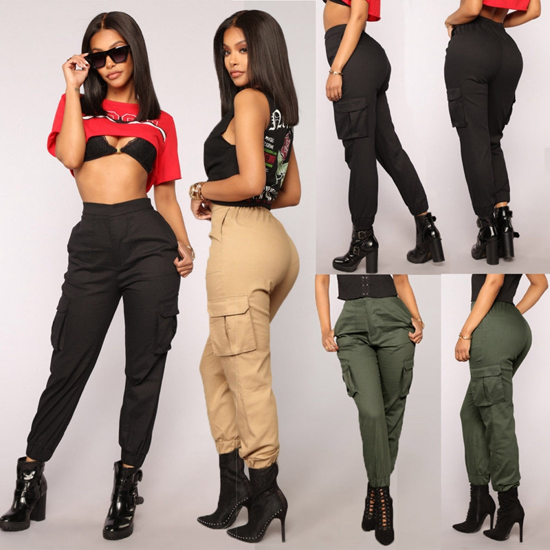 Women Casual Solid Military Army Combat Cargo Elastic Big Pockets Long   Pants   High Waist Plus