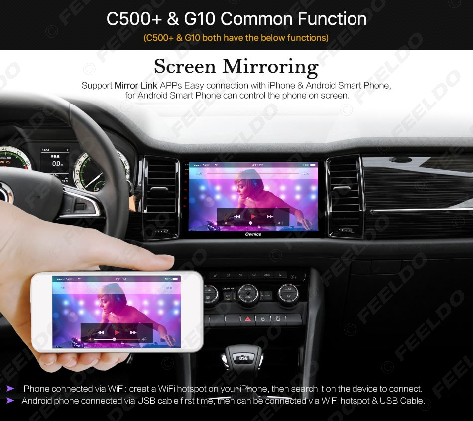 """Discount FEELDO  10.1"""" Android 6.0 4-Core/DDR3 1G/16G/Support 4G Dongle Car Media Player With GPS/FM/AM RDS For Superb 2016 (Superb B8) 5"""