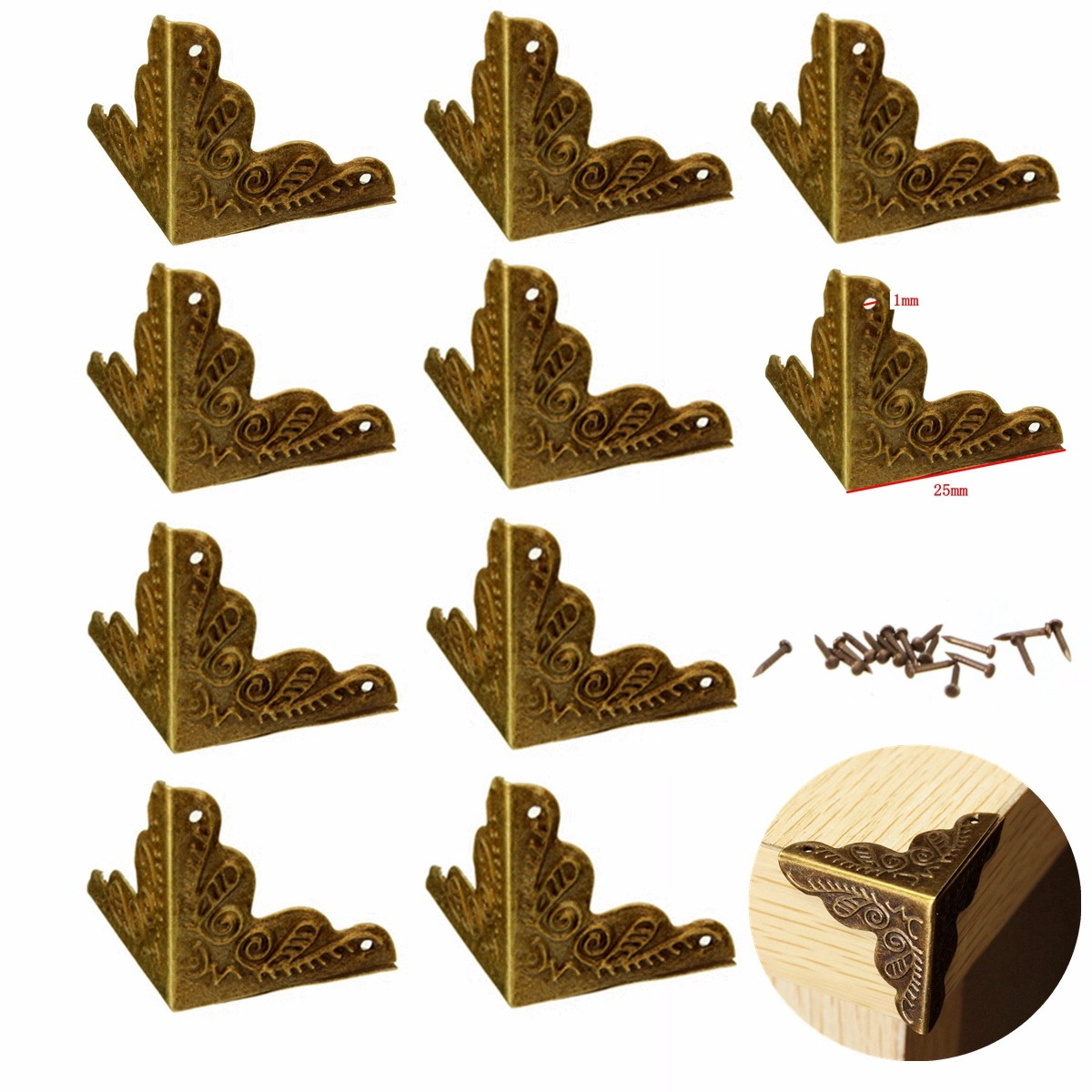 MTGATHER 10Pcs Antique Jewelry Box Corner Foot Wooden Case Corner Protector Tone Flower Pattern Carved Metal Crafts Bronze