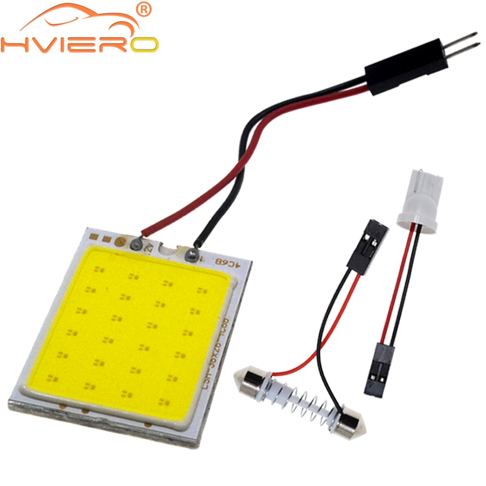 цена на White Red Blue T10 Cob 24 SMD 36 SMD Car Led Vehicle Panel Lamps Auto Interior Reading Lamp Bulb Light Dome Festoon BA9S DC 12v