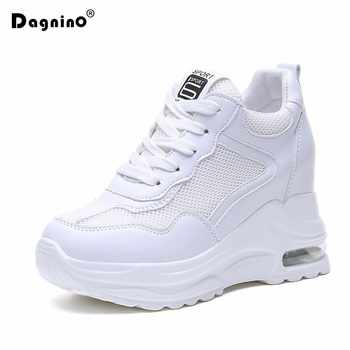 2019 Summer Women Sneakers Mesh Casual Platform Trainers White Shoes 9cm Heels Wedges Breathable Woman Height Increasing Shoes - DISCOUNT ITEM  45% OFF All Category