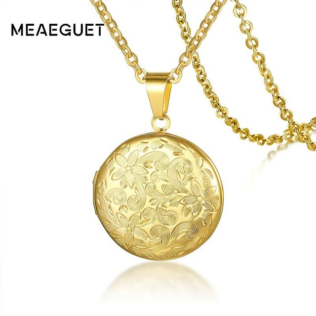 Vintage Pokeball Round Floral Locket Pendant Necklace with Photos Golden Stainless Steel 20 inch