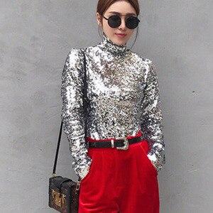 Image 3 - DEAT 2020 New Spring Fashion Women Turtleneck Full Sleeves Sequins Slim T shirt Femael Sliver Brling Top WC83910S