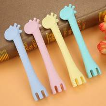 Baby Silicon Spoon Baby Safety Cute Giraffee Kids Children Flatware Feeding Spoons Baby Soft Gel Children Training Spoon(China)