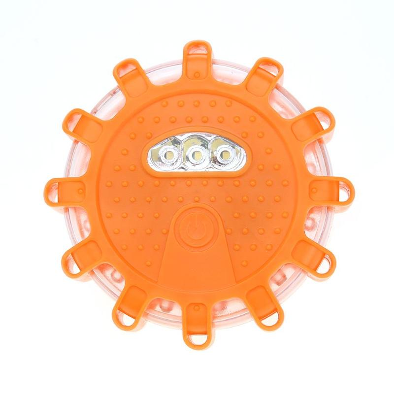15LED Car Police Emergency Light Flashing Warning Strobe Light Roof Road Safety Lamp Orange Round Car Roof Light Bar Road Safety