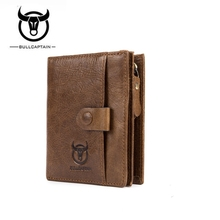 BULL CAPTAIN Cow Leather Men Wallet Fashion Coin Pocket Brand Trifold Multifunct