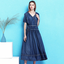 Nordic winds vintage fashion denim dress female summer new folds drawstring waist slimming temperament big swing NW19B6081